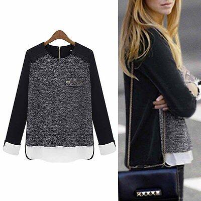 New Casual Long Sleeve Chiffon Top Blouses Shirt Women Ladies Casual T-shirt