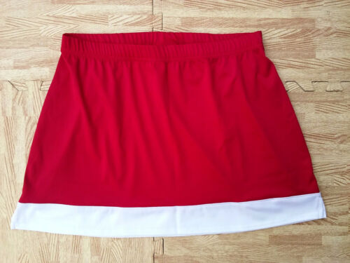 Adult Plus RED WHITE REAL Figure Fit Cheerleader Uniform Skirt 36-40 Cosplay NEW