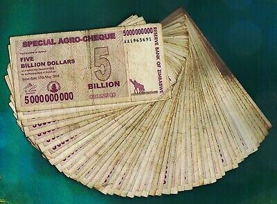 10 x 50 Billion Zimbabwe Dollars Bank Notes Agro-Cheque Paper Currency Lot 10PCS