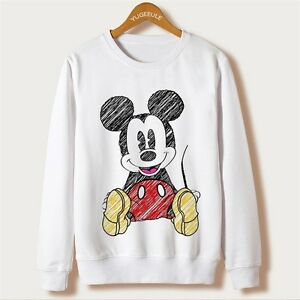 6f8a47e28 Image is loading New-Women-Mickey-Mouse-Cartoon-Disney-White-Sweatshirt-