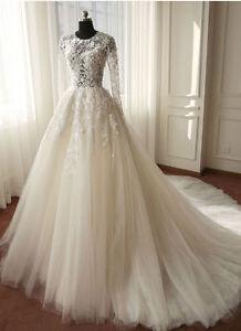 Langarm-U-Ausschnitt-A-Linie-Tuell-Spitze-Applique-Brautkleider-Hochzeitskleid