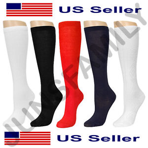 a4a2b4362910a Lot of 6 12 Pairs Junior Girls Knee High School Socks Uniform Casual 6-8  9-11