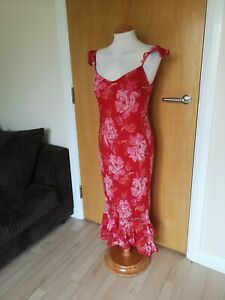 Ladies-DEBENHAMS-Dress-Size-12-Red-Salsa-Midi-Party-Evening-Wedding