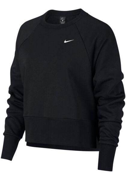 NIKE Damen DRI FIT Sport Fitness Sweatshirt CREW Shirt Crop Warm Up Top AQ0199