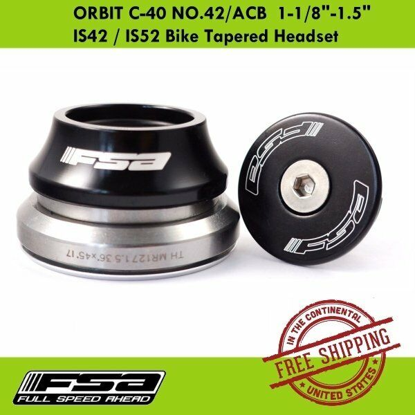 """Details about  /FSA Orbit C-33 Integrated Tapered Headset fit 1-1//8/"""" to 1-1//4/"""" Black"""