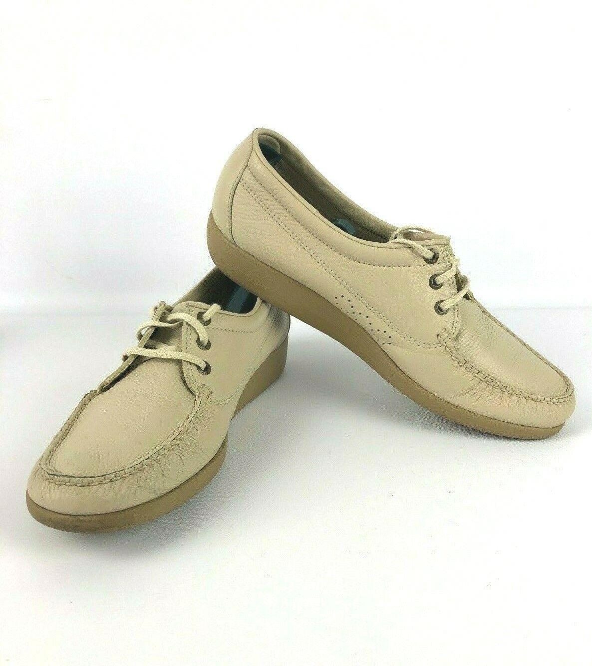SAS Amigo Cream Leather Casual Walking Nursing Moc Toe shoes Men Size 12.5N