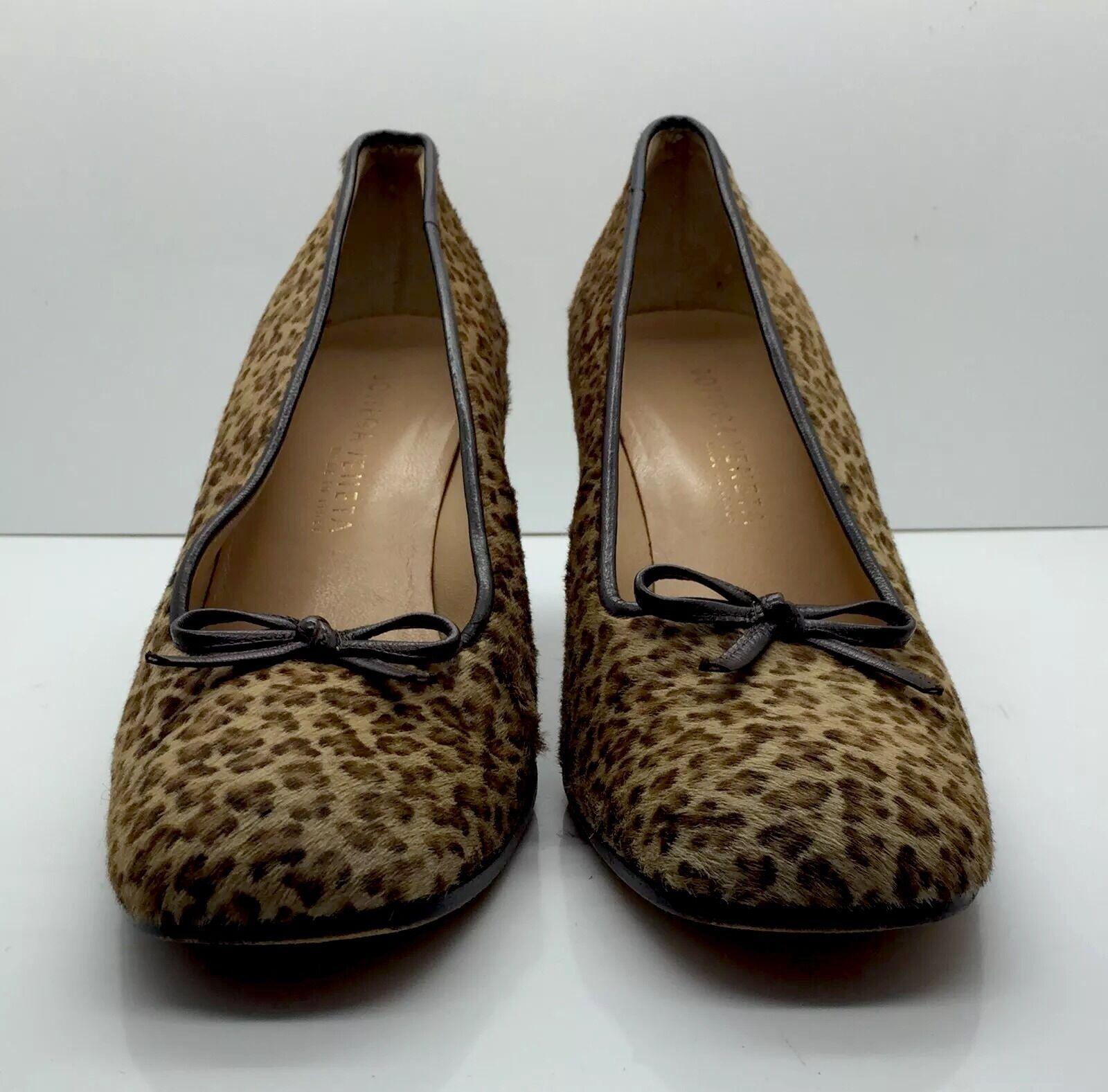 BOTTEGA VENETA Cheetah Leopard Pony Hair Leather Pumps Heels Bow Sz 8.5 B Italy