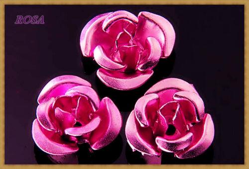 KMR Perlen Rosen aus Metall Alu SVielen Farben 10mm//20Stück
