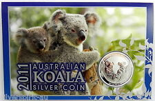 2011 AUSTRALIAN KOALA SILVER 1oz Coin on Card