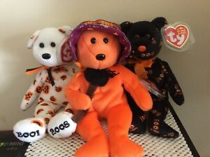 Ty Beanie Baby Halloween Bears CARVERS, PRUNELLA & YIKES~Hallmark Exclusives