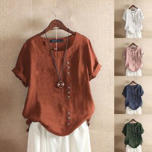 ZANZEA-Femme-T-shirt-Manche-Courte-Col-Rond-Couleur-Unie-Ample-Haut-Tops-Plus