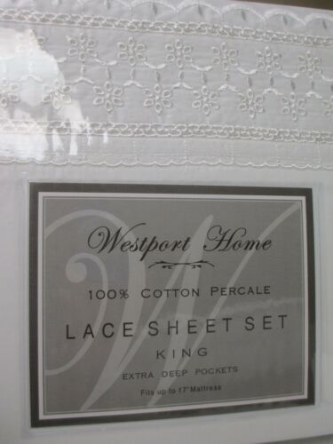 WESTPORT HOME Cotton White Embroidered Eyelet Floral Lace Sheet Set King