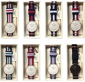 Daniel-Wellington-Classic-36mm-Nylon-Strap-NATO-Women-039-s-Watch-Rose-Gold-amp-Silver