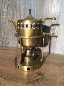 Antique-Brass-Teapot-And-Warming-Stand-With-Burner-Assembly-E9