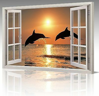30x20 Inch 2 DOLPHINS WATER SUNSET WINDOW VIEW CANVAS WALL ART PICTURE PRINT