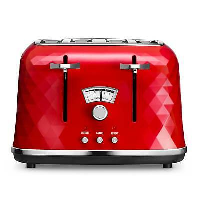 Delonghi CTJ4003.R Brillante 4 Slice Toaster in Red 4 Slices Defrost Function