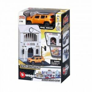 Bburago Build Your City - Bahnhof Bausatz 1:43 mit Jeep Renegade