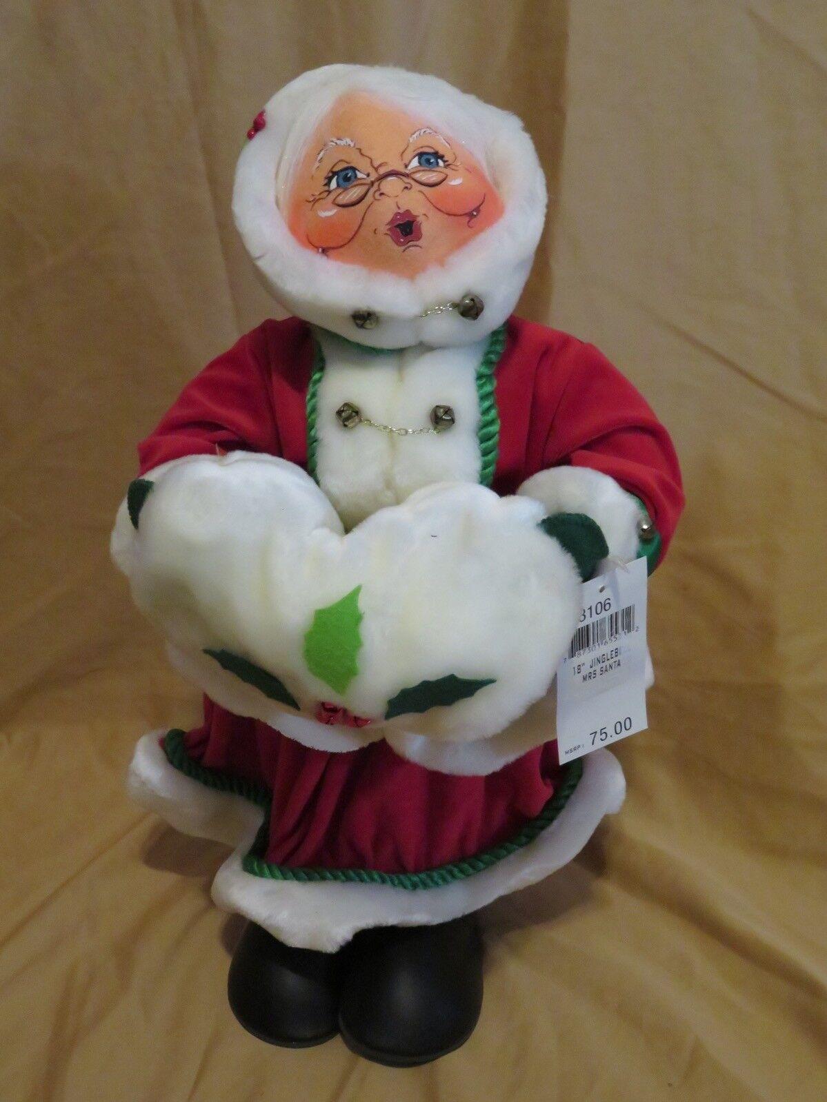Nueva Christmas Annalee Muñeca 45.7cm Mrs Mrs Mrs Jinglebell Santa Claus de Pie