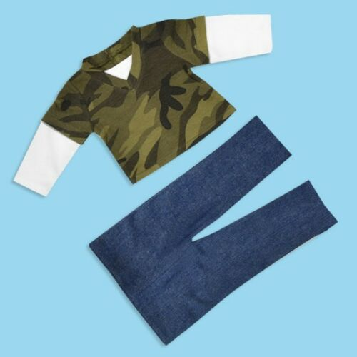 """Doll Clothes 18/"""" Shirt Camouflage Green Jeans Fits American Girl Doll"""