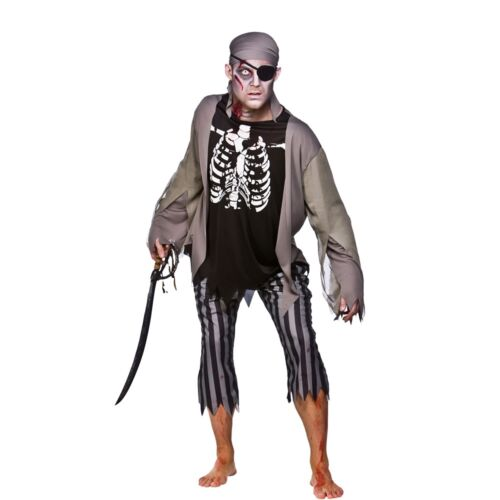 Adult ZOMBIE SKELETON PIRATE Halloween Dead Mens Caribbean Fancy Dress Costume