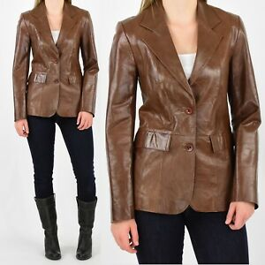 953b241e17ae Image is loading Anonymous-John-Carlisle-Leather-Blazer-Womens-S-Brown-