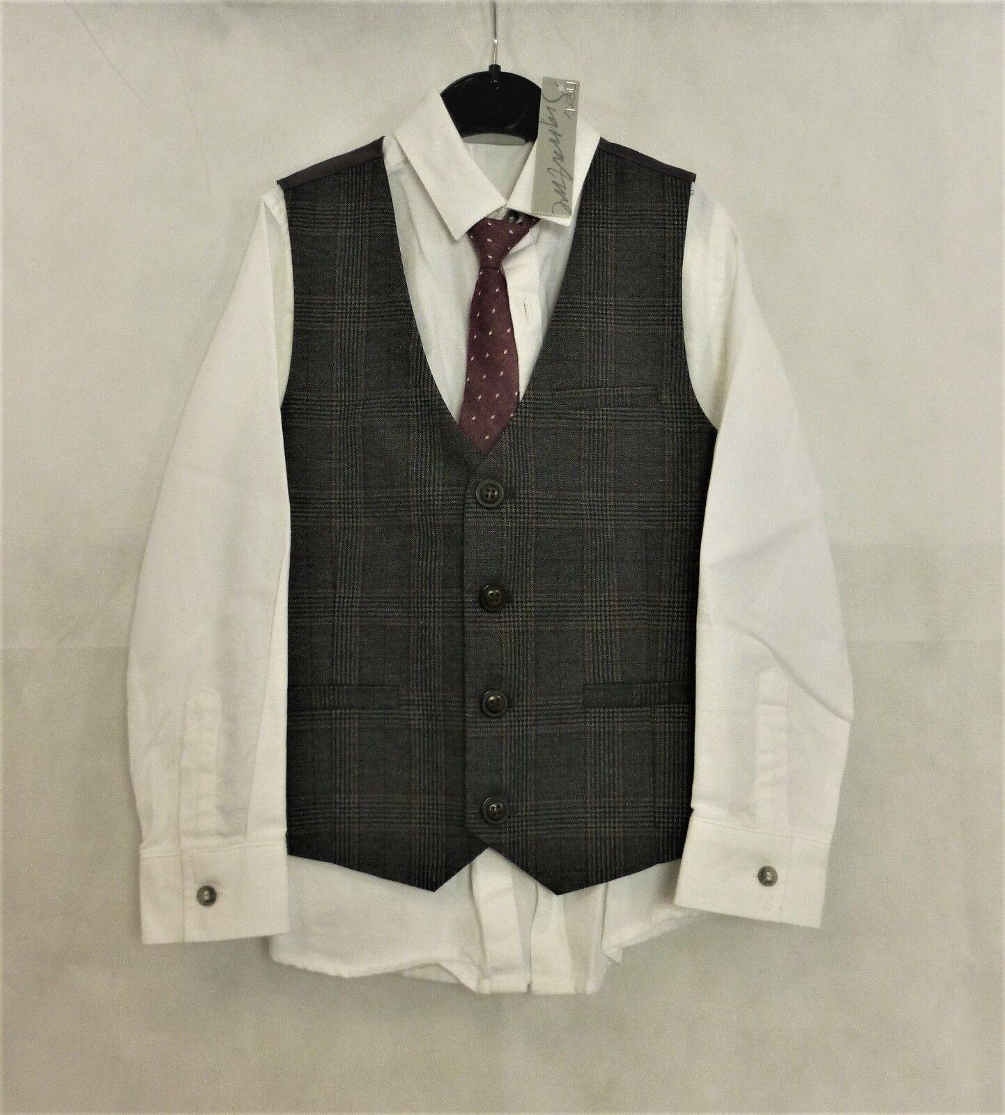 Next Grey Check Waistcoat Set Age 5 Years rrp DH083 GG 21