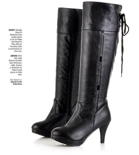 Bottes cuisse hiver confortable femme talon aiguille 7.5 cm noir comme cuir 8807
