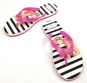 f1b57160be76 Kate Spade Nova Flip Flops Sandals Monkey Bow Pink Black White ...