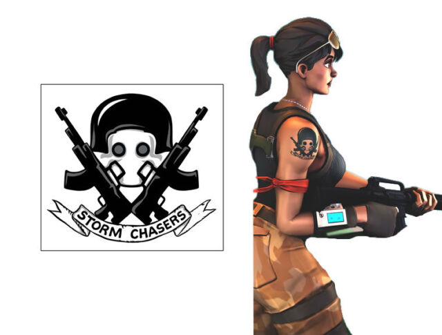 Fort Night Cosplay Soldier Arm Temporary Tattoo Storm Chasers