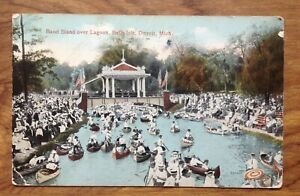 Details about Vintage Postcard Band Stand over Lagoon,Belle  Isle,Detroit USA   Free Postage