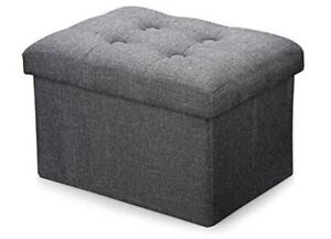 Ottoman-Storage-Cube-Gray-Foldable-Linen-Fabric-NEW