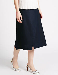 M/&S Collection Navy Blue Linen Blend Wrap Style Midi Skirt ~Size 12 /& 14 ~ BNWT