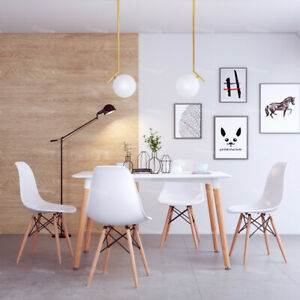 Dining-Table-And-4-Chairs-Plastic-Seat-Wooden-Legs-Vintage-Nordic-Style-White-UK