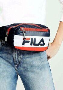 NWT FILA HUNTS WAIST SLING BAG UNISEX FANNY PACK CLASSIC NAVY RED ... 9c592d39dbb51