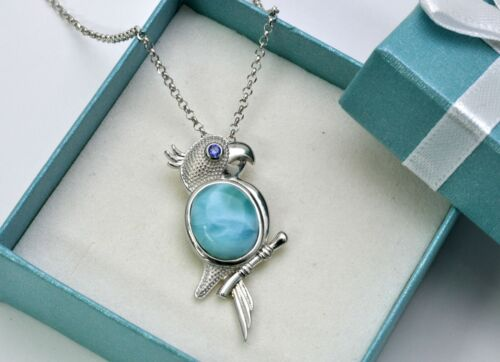 Necklace .925 Sterling Silver Larimar Parrot AAA  Natural 12X10mm  Pendant