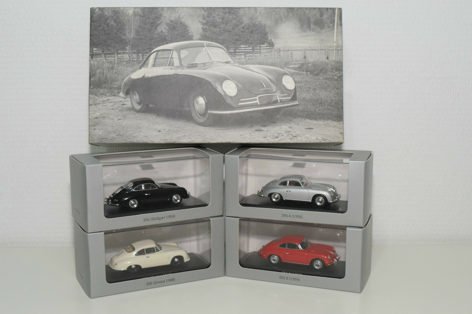 . MINICHAMPS PORSCHE HISTORY COLLECTION 356 SET MINT BOXED RARE SELTEN RARO