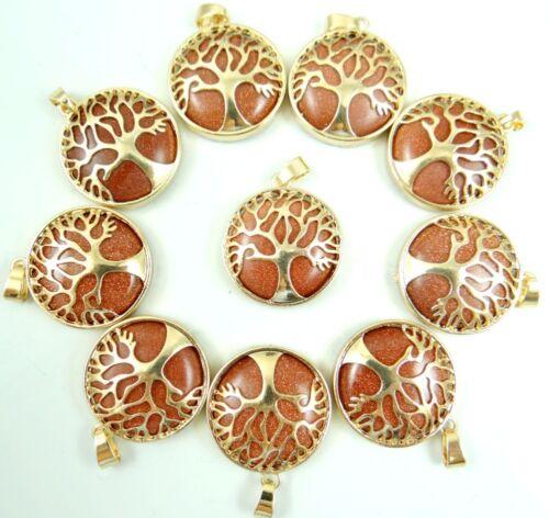 Gold sand stone Gem Tree Of Life Locket Retro golden Pendant Jewelry making
