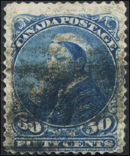 Canada #47 used F 1893 Queen Victoria 50c deep blue Small Queen CV$30.00