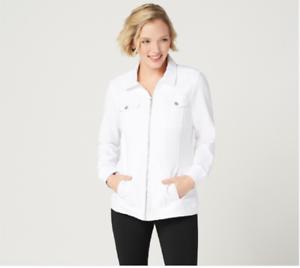 Denim-amp-Co-Comfy-Knit-Denim-Zip-Front-Jean-Jacket-White-Size-1X