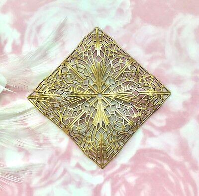 "ANTIQUE BRASS Large 2/"" Diamond Square Filigree Stamping ~ Dapt Finding BB-849"