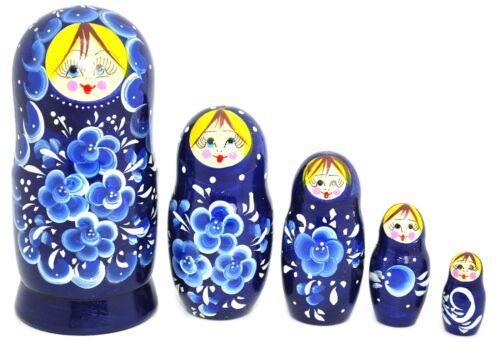 Russian Hand Painted Blue Nesting Dolls Set of 5 Matryoshka