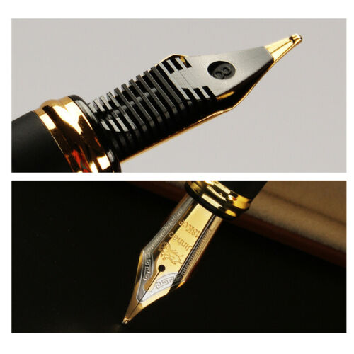 Jinhao X450 0.7mm Nib 18KGP Black with Fireworks Fountain Pen Golden Trim Gift