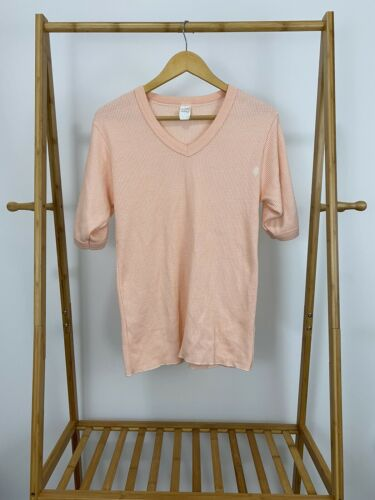 VTG 80s Thermal Waffle Know Chore Work V-Neck Shor