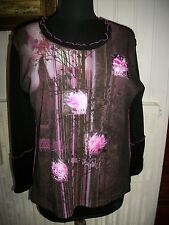 Tee shirt pull polyester/mohair PAUSE CAFE 48 noir/rose fleurs doublé