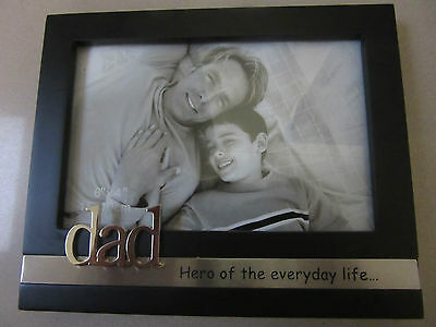 DAD Black And Silver Fathers Day Photo Frame Birthday - 3D Silver DAD Gift Box S