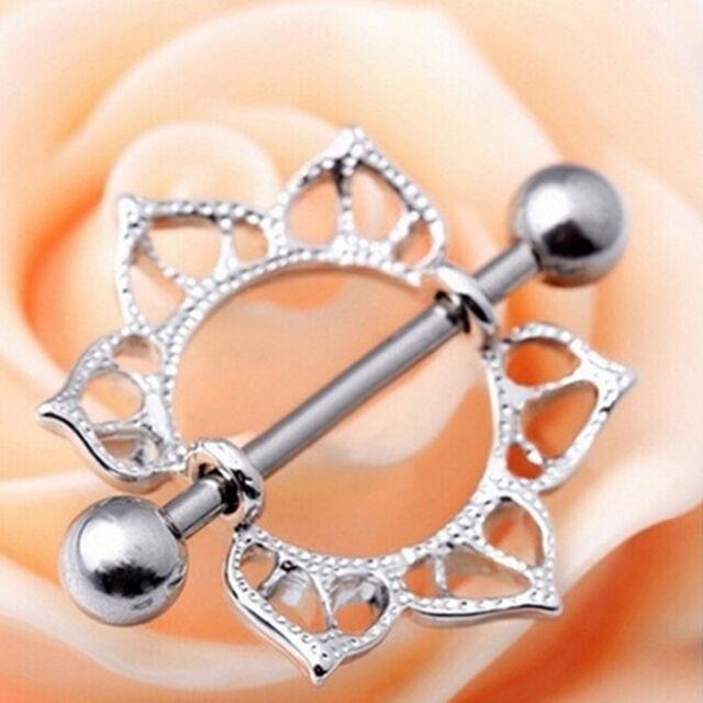 1pc/2pcs Steel Floral Flowers Circle Piercing Nipple Shield Ring 14G Bar SP