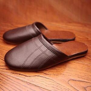 Comfortable Mens Womens Leather Slippers Closed Toe Indoor Loafers Flats lf01