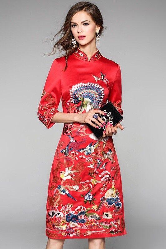 Tous les brodé qipao robe cheongsam