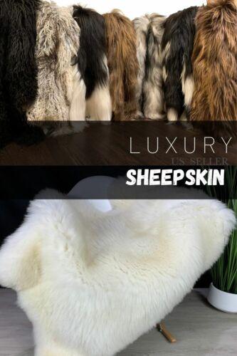 Sheepskin Genuine Natural Sheepskin Rug Pelt XXL Large Sheepskin Cream White