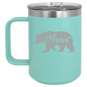 15oz-Tumbler-Coffee-Mug-Handle-amp-Lid-Travel-Cup-Insulated-Mama-Bear-Mom-Mother